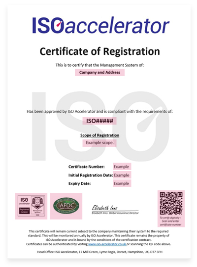 Example of a valid certificate