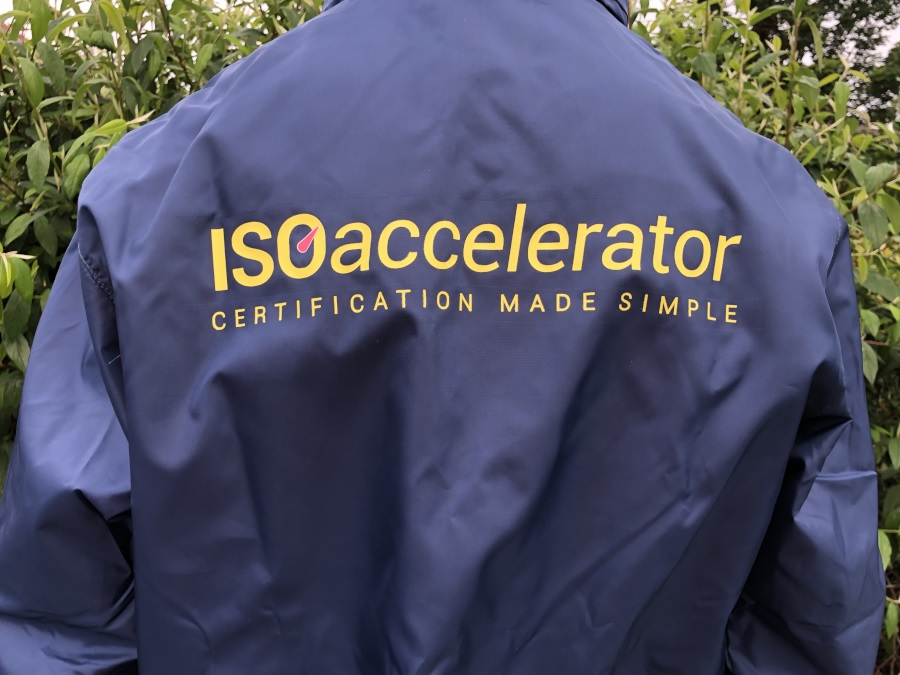 Cold weather jacket with ISO Accelerator logo on the back